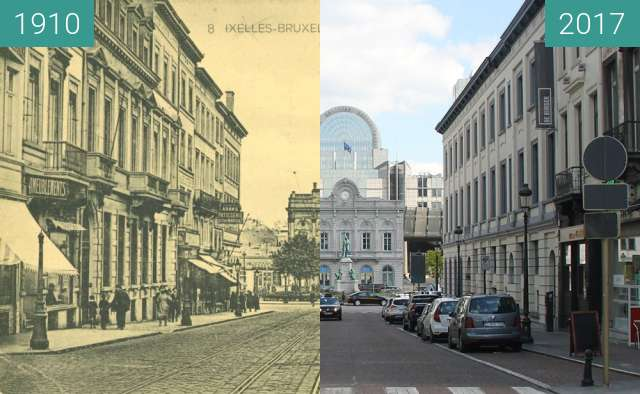 Before-and-after picture of Rue du Luxembourg, Brussels between 1910 and 2017-Apr-15