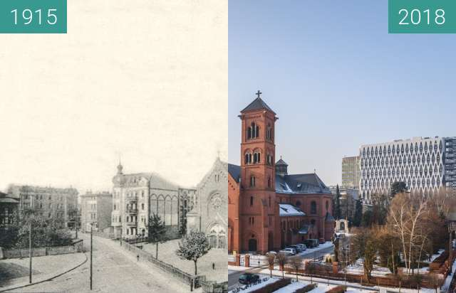 Before-and-after picture of Ulica Kościelna between 1915 and 2018-Jan-23
