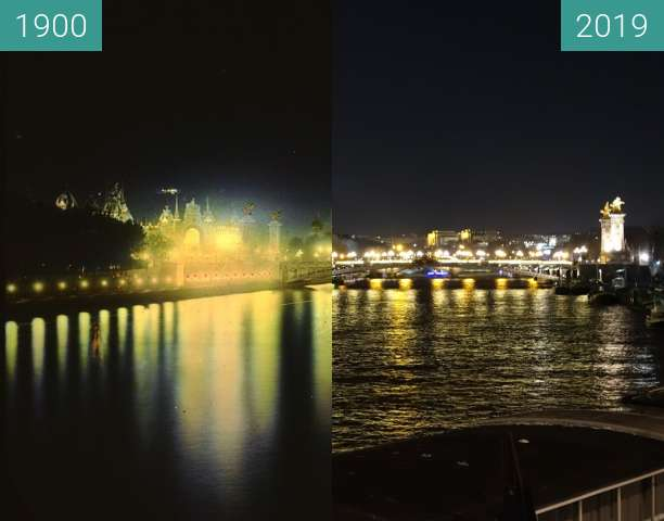 Before-and-after picture of Seine at night between 1900 and 2019-Feb-13