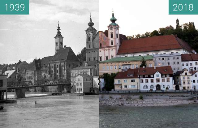 Before-and-after picture of Michaelkirche between 1939 and 2018-Aug-16