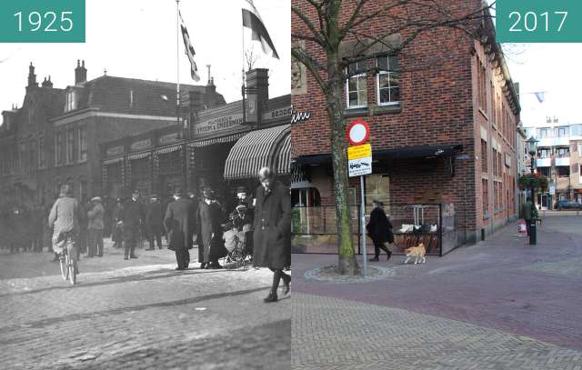 Before-and-after picture of The temporary shop of 'Vroom and Dreesmann' between 1925 and 2017