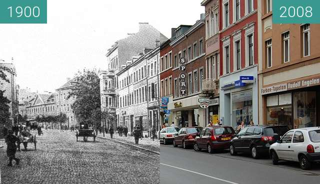 Before-and-after picture of Stolberg Rhld. Rathausstraße between 1900 and 2008-Jun-15