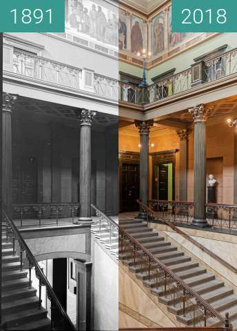 Before-and-after picture of Löwengebäude der Martin-Luther-Universität between 1891-May-23 and 2018-Jul-18