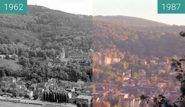 Before-and-after picture of Heidelberg between 1962 and 1987