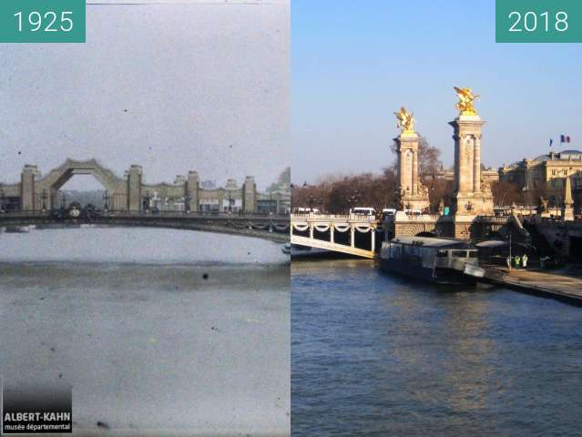 Before-and-after picture of Pont Alexandre III between 1925-May-12 and 2018-Feb-24
