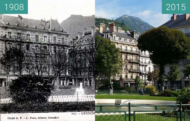 Before-and-after picture of Grenoble | Place Victor Hugo (1908) between 1908 and 2015
