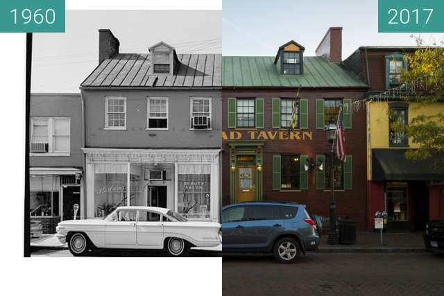 Before-and-after picture of 31-33 West Street, Annapolis, Maryland, USA between 1960 and 2017-Oct-03