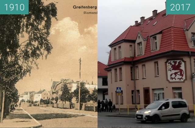 Before-and-after picture of Gryfice between 1910 and 2017-Nov-30