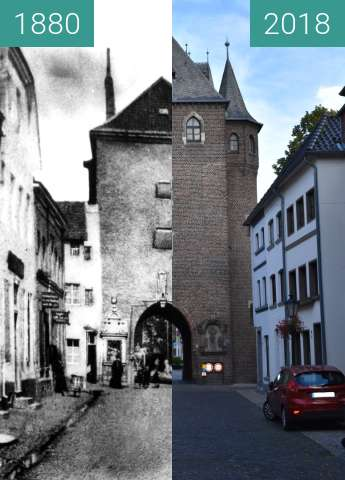 "Before-and-after picture of Kempen, ehemaliges Stadttor ""Kuhtor"" between 1880 and 2018-Jul-10"