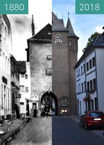 """Vorher-Nachher-Bild von Kempen, ehemaliges Stadttor """"Kuhtor"""" zwischen 1880 und 10.07.2018"""