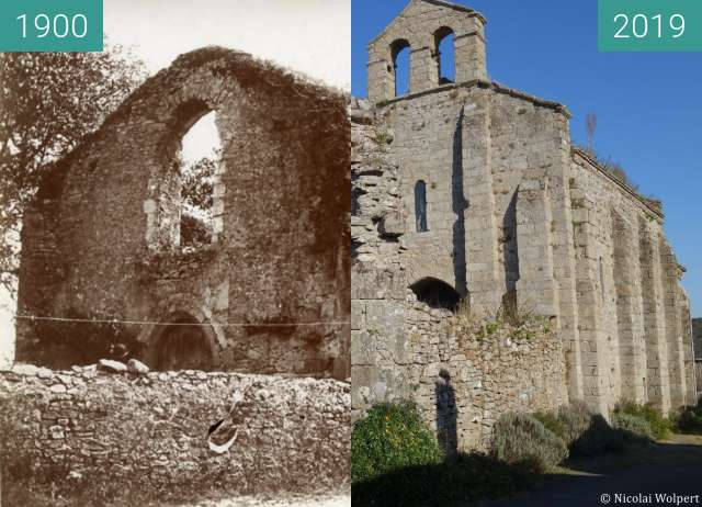 Before-and-after picture of Templar chapel in Clisson between 1900 and 2019-Sep-16