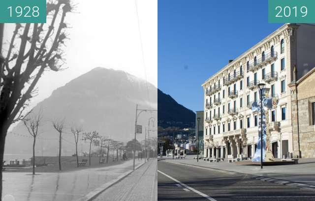Before-and-after picture of Piazza Luini between 1928 and 03/2019