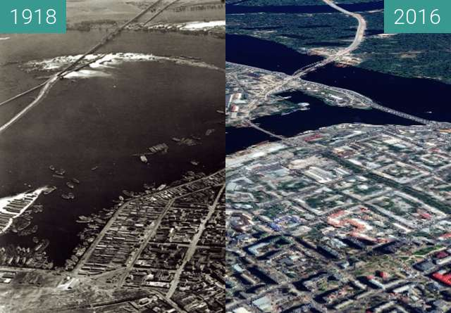 Before-and-after picture of The Kyiv harbor from above between 04/1918 and 2016
