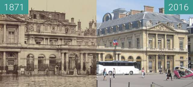 Before-and-after picture of Palais Royal (Pariser Kommune) between 1871 and 2016-May-08