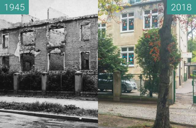 Before-and-after picture of Ulica Chopina between 1945 and 2018