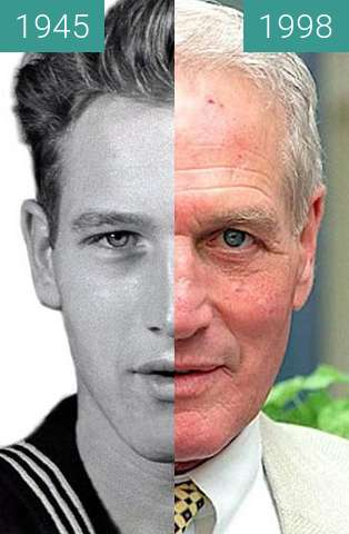 Before-and-after picture of Paul Newman between 1945 and 1998
