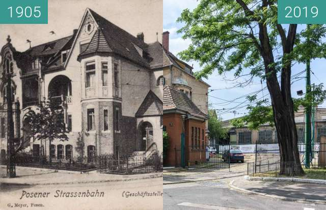 Before-and-after picture of Ulica Gajowa, zajezdnia tramwajowa between 1905 and 2019