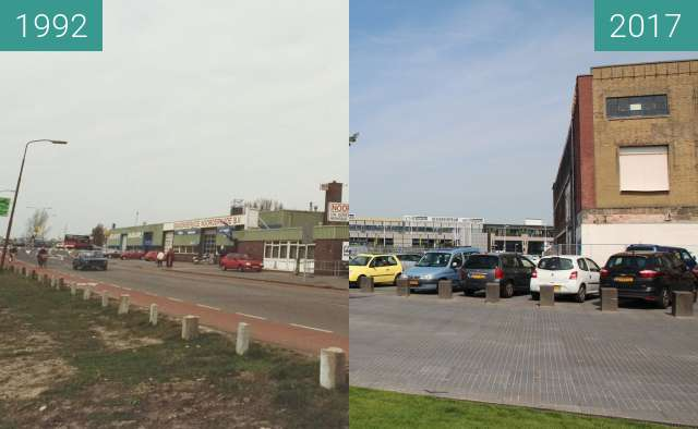 Before-and-after picture of Noorderkade between 1992-Mar-17 and 2017-Aug-23