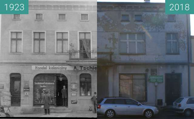 Before-and-after picture of Colonial trade market on Kościuszki street between 1923 and 02/2018