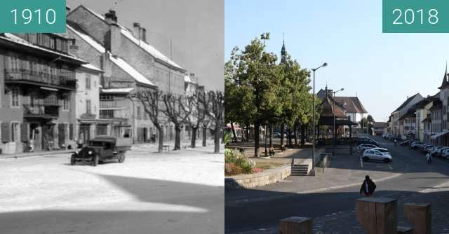 Before-and-after picture of Bulle - Place du Marché between 1910 and 2018-Aug-04