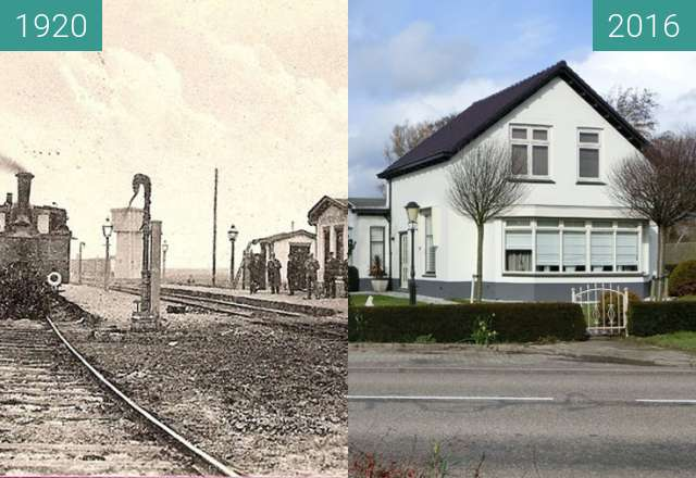 Before-and-after picture of Station Warmenhuizen between 1920 and 2016