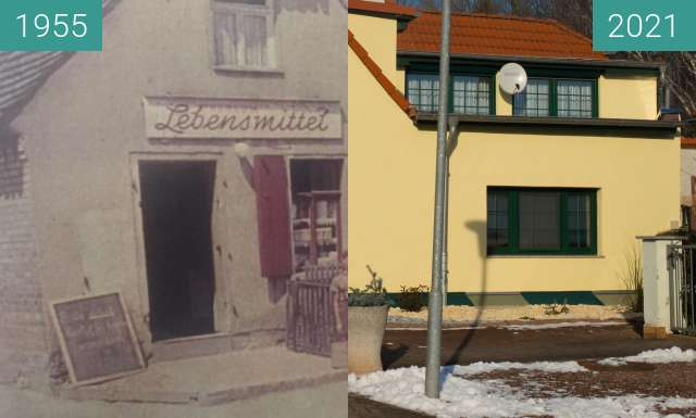 Before-and-after picture of Teicha Dorfkonsum between 1955 and 2021-Jan-17