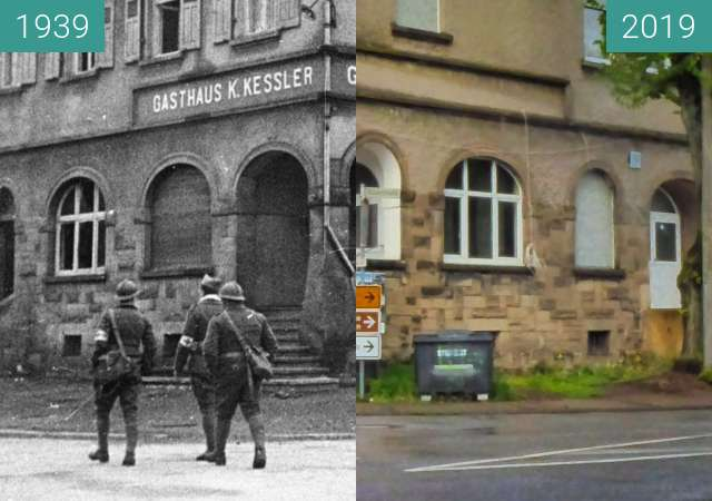 Before-and-after picture of Lauterbach between 09/1939 and 2019-May-09