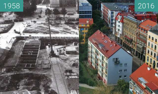 Before-and-after picture of Stare Miasto between 1958 and 2016