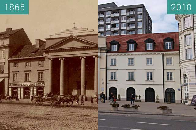 Before-and-after picture of St. Albert Church in Warsaw between 1865 and 2010-Mar-28