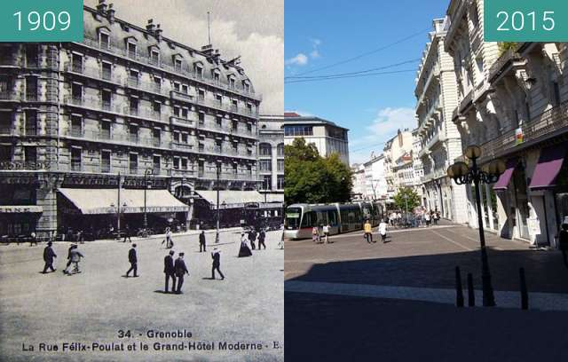 Before-and-after picture of Grenoble | Rue Félix Poulat (1909) between 1909 and 2015