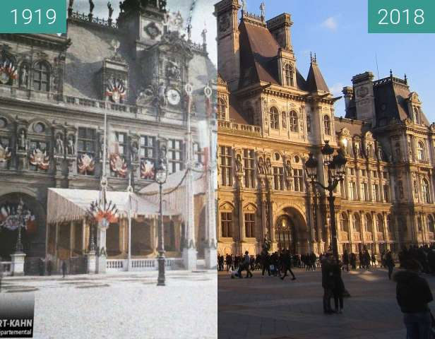 Before-and-after picture of Hôtel de Ville between 1919-Oct-21 and 2018-Feb-17