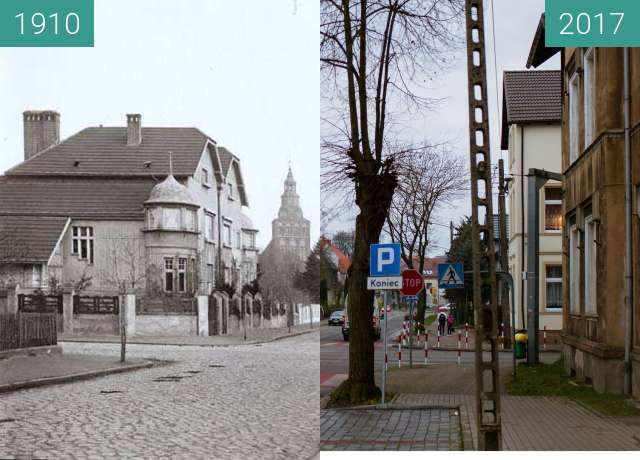 Before-and-after picture of Gryfice Mickiewicza_Street between 1910 and 2017-Dec-02