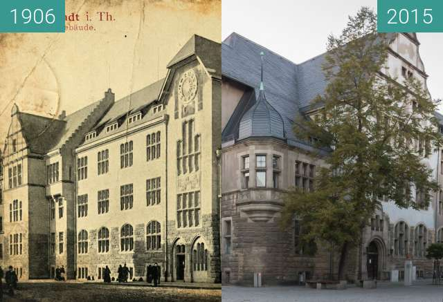 Before-and-after picture of Rudolstadt Marktstraße 54 Amtsgericht between 1906 and 10/2015