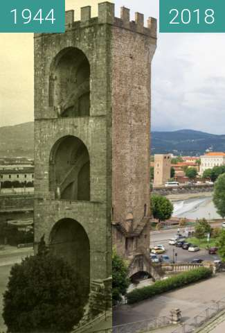 Before-and-after picture of Florence, Italy 1944/2018, Tower of San Nicolo between 07/1944 and 2018-May-17
