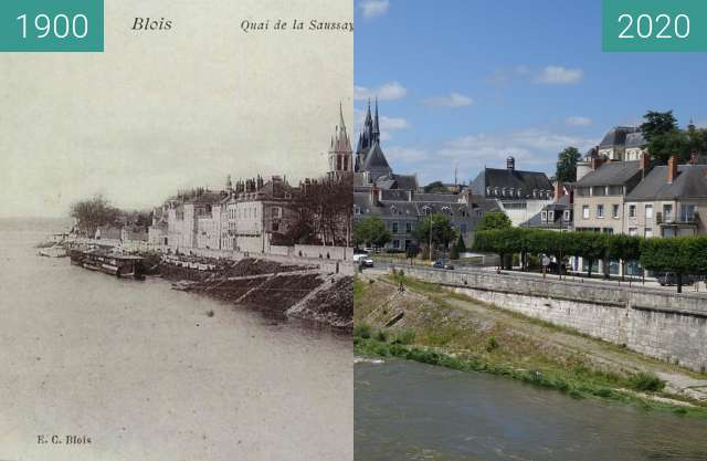 Before-and-after picture of Blois, Quai de la Saussaye between 1900 and 06/2020
