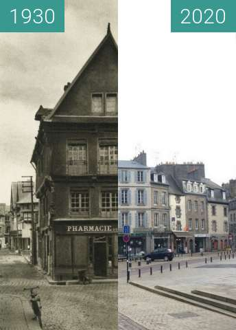 Before-and-after picture of Saint-Brieuc - Place du Martray between 1930 and 2020-Dec-20