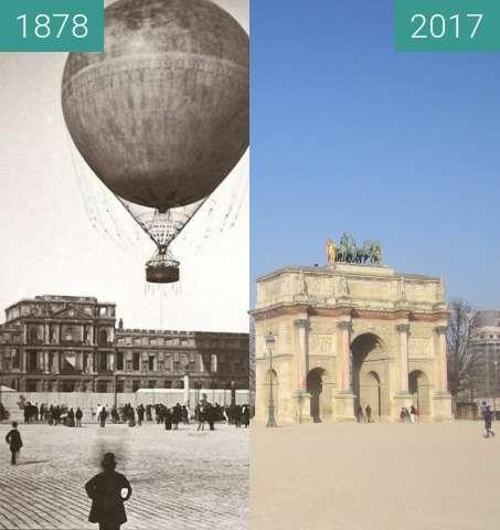 Before-and-after picture of Place du Carrousel between 1878 and 2017-Jan-26