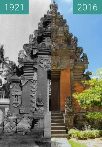 Before-and-after picture of Verziertes Tor im Bali-Museum in Denpasar between 1921 and 2016-Jun-07