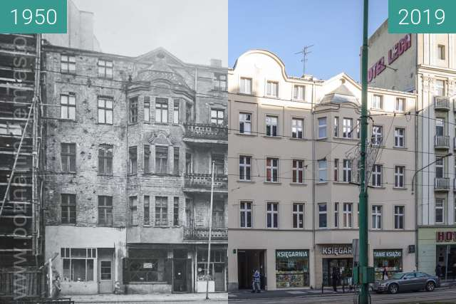 Before-and-after picture of Ulica Św. Marcin between 1950 and 2019