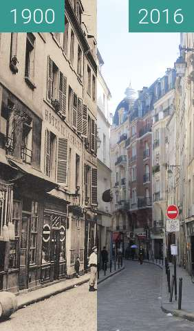 Before-and-after picture of Rue Galande between 1900 and 2016-Apr-19