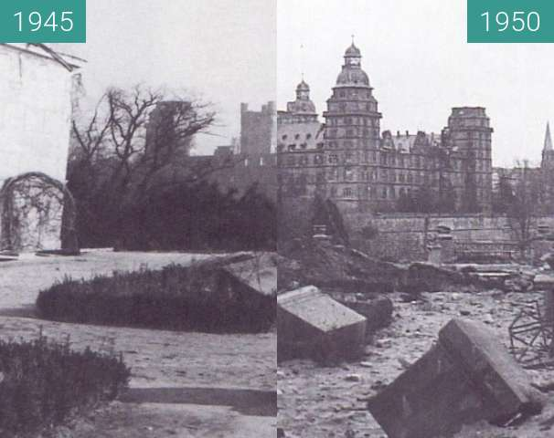Before-and-after picture of Aschaffenburg - Schloss between 1945 and 1950
