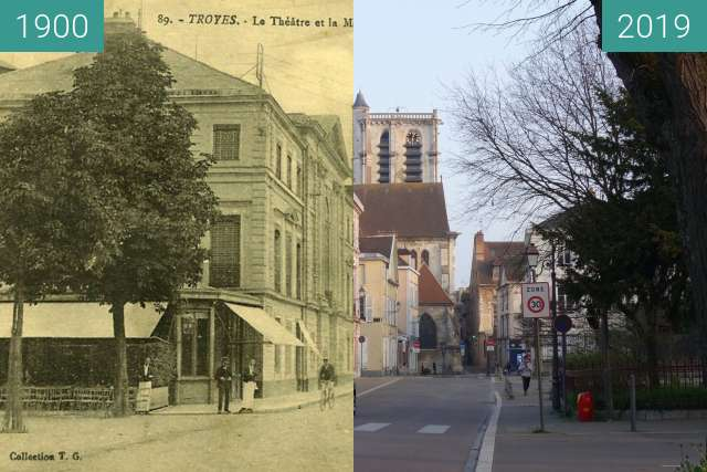 Before-and-after picture of Rue de la Madeleine between 1900 and 2019-Mar-23
