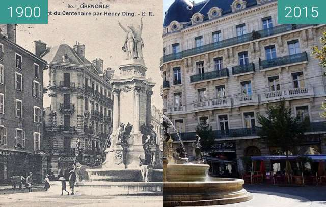 Before-and-after picture of Grenoble | Place Notre Dame between 1900 and 2015