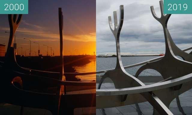 Before-and-after picture of Reykjavik, Iceland, Sun Voyager between 2000-Aug-01 and 2019-May-20