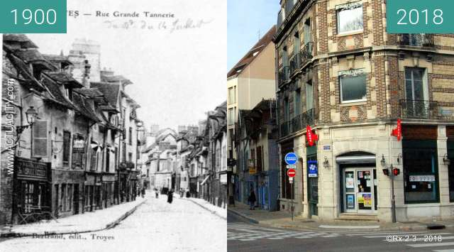 Before-and-after picture of TROYES - Rue Raymond Poincarré between 1900 and 2018-Feb-20