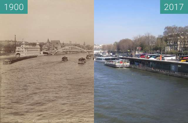 Before-and-after picture of View on Seine from Pont d'Iéna between 1900 and 2017-Mar-25