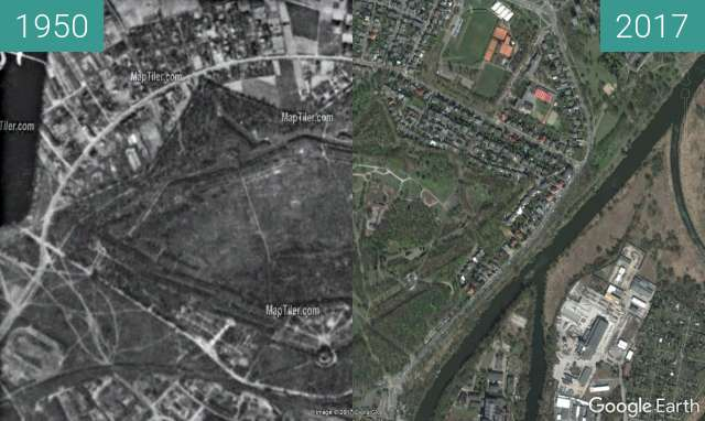 Before-and-after picture of Fort Winiary, center aerial view between 1950 and 2017