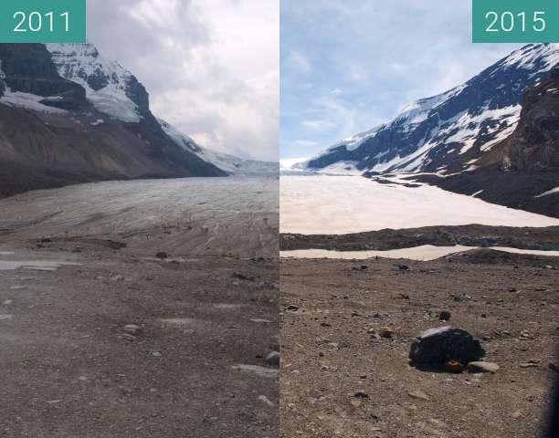 Vorher-Nachher-Bild von Athabasca Gletscher zwischen 15.09.2011 und 01.06.2015
