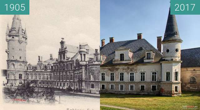 Before-and-after picture of Pałac w Bożkowie between 1905 and 2017