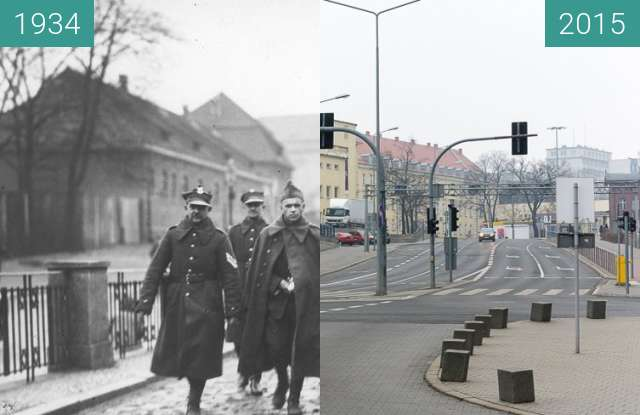 Before-and-after picture of Ulica Kościuszki between 1934-Feb-17 and 2015